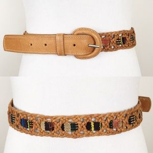 VTG Southwestern Woven Leather Waist Belt Festival